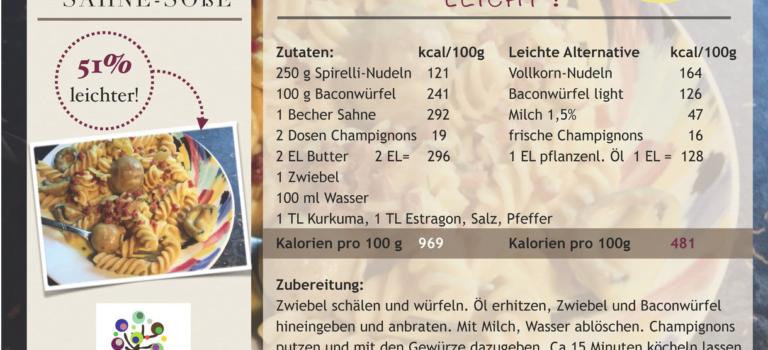 Kalorienarme Spirellinudeln mit Champignon-Sahne-Soße